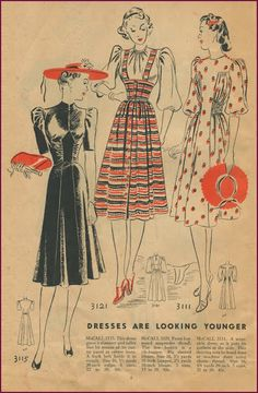 McCall Style News March 1939 via New Vintage Lady 1930s Fashion, Fashion News, Vintage Fashion, New March, Vintage Jumper, Suspender Skirt, Fashion History, Vintage Patterns, Beautiful Dolls