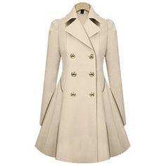 Rotita Laconic Turndown Collar Long Sleeve Apricot Trench Coat