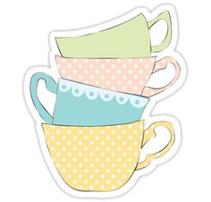 Teacups by Heather Clauson. Redbubble Sticker.
