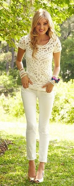 Jamie Sweater, Lilly Pulitzer 2013.  Simple casual look.