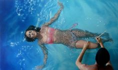 venezuela-based artist gustave inutero's realistic paintings will make you do a double take. he creates amazing paintings of swimmers and poses with them in ways that makes it appear that he's interacting with the subjects. Hyper Realistic Paintings, Amazing Paintings, Oil Paintings, Amazing Artwork, Chef D Oeuvre, Oeuvre D'art, Oeuvres, Cool Optical Illusions, Painting People