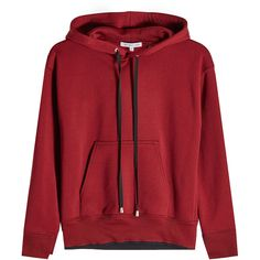 Helmut Lang Shrunken Hoodie (1.340 BRL) ❤ liked on Polyvore featuring tops, hoodies, sweaters, red, red hoodie, helmut lang hoodie, hooded pullover, cotton hoodies and hoodie top