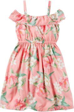 Carter's Floral-Print Pom Pom Dress, Little Girls & Big Girls - Pink 7 Little Girl Fashion, Kids Fashion, Toddler Girl Dresses, Girls Dresses, Toddler Girls, Carters Dresses, Comfortable Outfits, Kind Mode, Baby Dress