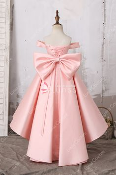 e13bdbec3e7 Lovely Off Shoulder Baby Pink Princess High Low Satin Flower Girl Dress  with Big Bowknot