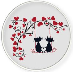 INSTANT DOWNLOAD,Free shippingCounted Cross-Stitch PDF,Love cats and hearts tree,valentine's day, wedding gift,zxxc0657