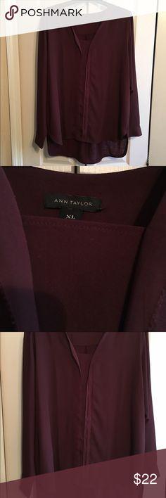 Ann Taylor Burgundy Long Sleeve XL Top Worn Once a Ann Taylor Top Ann Taylor Tops Blouses