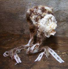 Crocheted Mohair Bonnet Chocolate Brown & Cream by dreamfancies