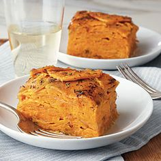 A sprinkle of Parmesan and thyme adds a unique twist to this savory sweet potato gratin.