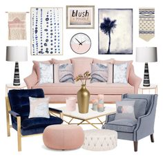 """Blush Marble Navy"" by leiastyle ❤ liked on Polyvore featuring interior, interiors, interior design, home, home decor, interior decorating, Bloomingville, Nuevo, Emporium Home and Arper"
