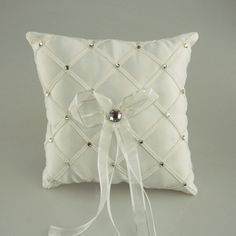 Ring Bearer Satin Pillows Wedding Occassion, 7-inch, Checkered Rhinestones, White, CLOSEOUT