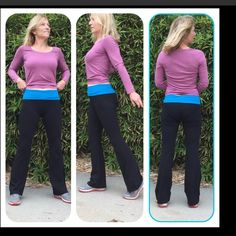 """Yoga Pants w Bright Turquoise Foldover Waist. Bend and stretch easily in these yoga pants. Black legs with a bright turquoise fold over waistband. 92% cotton, 8% spandex. Very well made with a medium weight, perfect for indoor classes. Not see through at all. Size Small fits 2-4, size M fits 6-8, size L fits 8-10 best. Inseam 32"""". Top of waist to crotch when folded 10"""". Machine was cold gentle, fluff dry. Boutique Pants Leggings"""