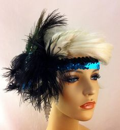 Black and Turquoise Flapper Headband1920s Head by IceGreenEyes, $110.00
