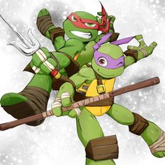 Raph and Donnie 😍😘 my fav Ninja Turtles Art, Teenage Mutant Ninja Turtles, Gi Joe, Tmnt 2012, Teenager, Halloween, Nerd, At Least, Childhood