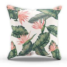 Cushions Paradise Leaf Cushion Printed Leaves Tropical Style Home Interior & Garden Interior Tropical, Tropical Bedroom Decor, Tropical Furniture, Tropical Bedrooms, Tropical Houses, Tropical Decor, Tropical Colors, Botanical Bedroom, Botanical Interior