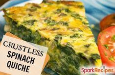 Crustless Spinach, Onion and Feta Quiche Recipe by JENNLOVE via @SparkPeople