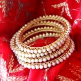 2.6 Size Classic White Pearl Bangles Set Of Four Gold Tone Jali Party Wear Indian Traditional Imitation Ethnic Wear