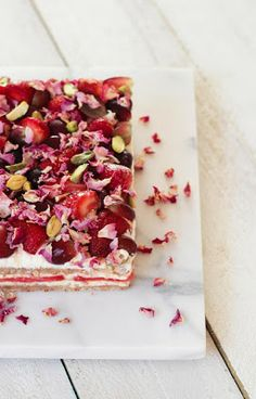 { a swoonful of sugar } : Watermelon, Strawberry Rose Cake (GF) + DIY Wooden Boards