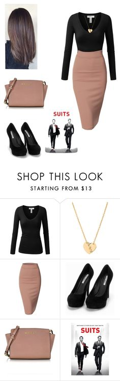 """Rachel Zane"" by crazy-wild-ninja ❤ liked on Polyvore featuring J.TOMSON, Marc by Marc Jacobs, Doublju, Nly Shoes and Michael Kors"