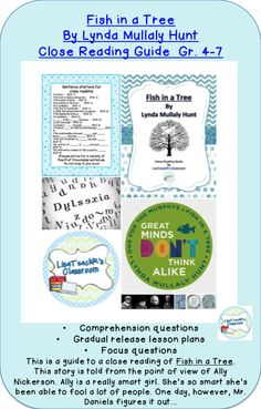 Close reading guide for Fish in a Tree. Great novel for grades Common core aligned. Close Reading, Guided Reading, Fish In A Tree, Seventh Grade, Sixth Grade, Teaching Math, Teaching Tools, Teaching Ideas, 4th Grade Classroom