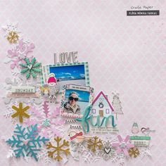 Flóra Mónika Farkas: Winter Layout with Crate Paper Snow and Cocoa