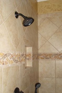 Ceramic Tile Shower with Natural Stone Accents and Shampoo Cubby Shelf Shower Tile, Ceramic Tiles, Cubby Shelves, Custom Bathroom, Stone Accent, Home Remodeling, Door Handles, Room Makeover, Winnsboro