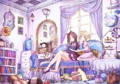 animal animal_ears black_hair blonde_hair blue_eyes book cake cat catgirl couch dress fish food kinom lolita_fashion long_hair original ribbons umbrella