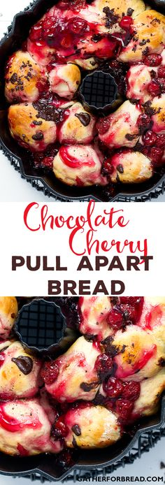 Chocolate Cherry Pull Apart Bread - Homemade bread with a sweet cherry and chocolate touch. /redstaryeast/ (desserts with apples pull apart bread) Mini Desserts, Just Desserts, Delicious Desserts, Dessert Recipes, Yummy Food, Health Desserts, Oreo Dessert, Dessert Bread, Sweet Cherry Pie