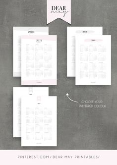 Calendar Printable ⋆ 2018 Calendar ⋆ 2019 Calendar ⋆ 5 Minimalist Designs ⋆ Annual Overview ⋆ Yearly Planner ⋆ Dear May Printables Calendar 2018, Calendar Printable, Printables, Yearly, Etsy, Vintage, Trending Outfits, Handmade Gifts, Planners