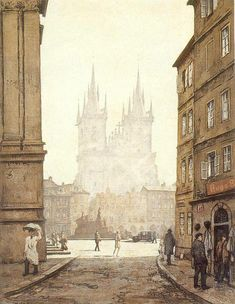 Tyn Church in the Morning by Tavik Frantisek Simon, early century Art Through The Ages, Old Town Square, Le Palais, Big Photo, Figure Painting, Art World, Art History, Illustrators, Paris Skyline
