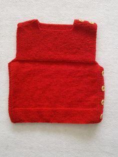 Chaleco de lana rojo, con botones laterales, Hecho por María Landín