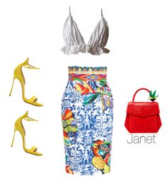 """Unbenannt #1033"" by janetplanet ❤ liked on Polyvore featuring Stella Jean, Nancy Gonzalez and Casadei"