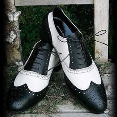 Best White and Black Leather Punk Fashion Dress Oxford Shoes for Men SKU-1100009
