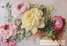 silk ribbon embroidery roses - Google'da Ara