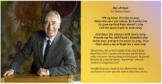 """""""Ray of Hope"""" poem by Mr. Shimon Peres, President of Israel and Nobel Peace Prize laureate.This is a  link to all CDs and Mp3 downloads if you wish to support our causes. Proceeds from sales of all 4 """"Ray Of Hope"""" CD's are going to St. Jude's Children's Hospital and Peace charities.  It's available to all from around the world.. http://songweavershope.com/project-h.php?project_id=1006&member"""