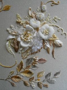 Wonderful Ribbon Embroidery Flowers by Hand Ideas. Enchanting Ribbon Embroidery Flowers by Hand Ideas. Couture Embroidery, Silk Ribbon Embroidery, Embroidery Patterns, Hand Embroidery, Embroidery Machines, Embroidery Jewelry, Flower Embroidery, Ribbon Art, Ribbon Crafts