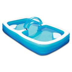 Summer Escapes Deluxe Frosted Inflated Family Pool 120'' x 72'' 22'' with 2 Comfortable Seat & Repaid Patch
