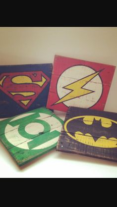 If you love superheroes just creat a sign with wood panels : steps 1 hammer together pieces of wood our just get wood already cut in a square  2 pick the superhero you want 3 draw it out with pencil 4 then paint it