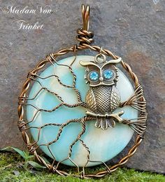 Wire Wrapped Owl in Tree with Light Blue and Cream Super Moon