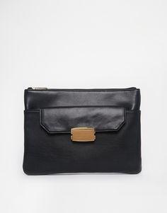 ASOS Flap Pocket Zip Top Clutch Bag