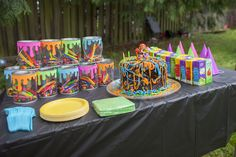 So my middle child, Autumn turns 7 today. She & # s about as amazing as I can po … - Slime Paintball Birthday, 2 Birthday, Paintball Party, 9th Birthday Parties, Birthday Celebration, Birthday Ideas, Nintendo Party, Kids Art Party, Video Game Party