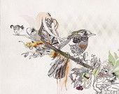 Collage & Mixed Media Animals painting Birds decor by lizkapiloto