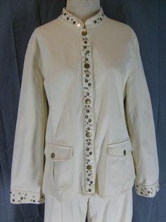 Size 14 Susan Bristol Cotton Pant Suit Cream Grommet Details Casual Straight Leg | eBay