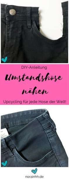 Sew Maternity Jeans / Maternity Pants Sewing instructions for the upcycling of old pants to a pregnancy pants. So can be sewn from a pair of pants a maternity trousers, without having to g. Jean Diy, Alter Pullover, Maternity Pants, Pregnancy Pants, Clothing Hacks, Sewing Projects For Beginners, Sewing Clothes, Sewing Hacks, Sewing Tips