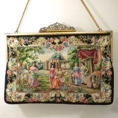 Petit Point Purse Figural Scenic Bag Handbag