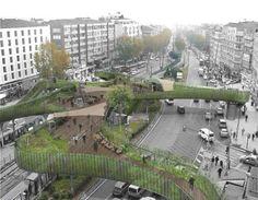 Istanbul. Solutions pour piétons dans zone urbaine à fort trafic.