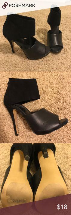 Black heels Black leather and suede heels. Worn once! Apt. 9 Shoes Heels