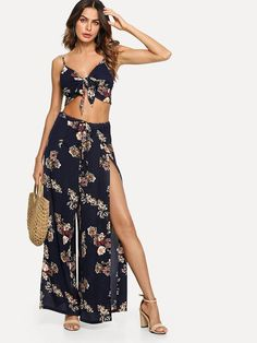 d256cfe9e3 Floral Matching Two-Piece Co-Ord Crop Top & Palazzo Pants Set