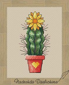 Cactus Cross Stitch, Cross Stitch Borders, Modern Cross Stitch, Cross Stitching, Cross Stitch Embroidery, Cross Stitch Patterns, Cactus With Pink Flowers, Yellow Flowers, Cactus Photo