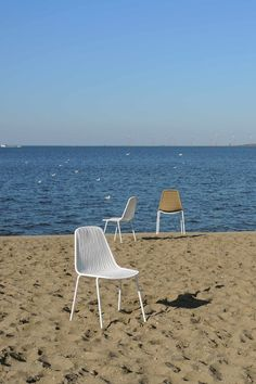 Basket chairs on the beach | white frame, white or honey shell