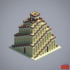 Great Ziggurat - Minecraft World Minecraft Hack, Minecraft Building Guide, Minecraft Castle, Minecraft Medieval, Minecraft Survival, Amazing Minecraft, Minecraft Tutorial, Minecraft Blueprints, Minecraft Crafts